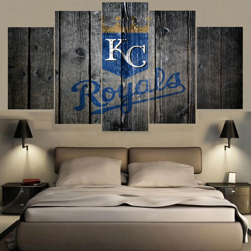 5 Panel Sport Kansas City Royals Wall Art Canvas Painting Calligraphy HD Print Home Decor Picture