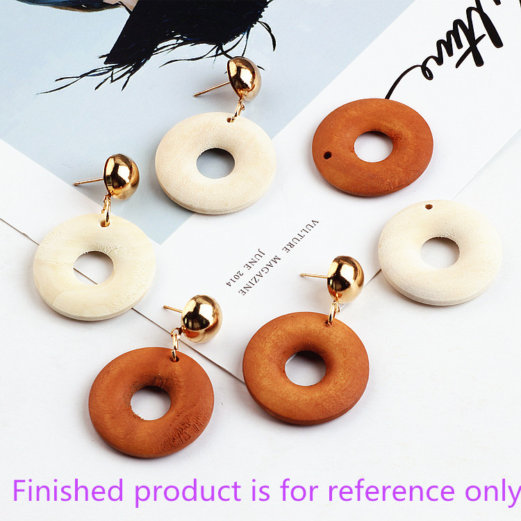 New diy jewelry making 50pcs/lot handmade wood material round shape pendants charms earrings/garments accessory