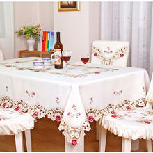 Yazi Embroidery Rose Cutwork Tablecloth Fabric Rectangle Table Cover  Wedding Party Dining Room Decor