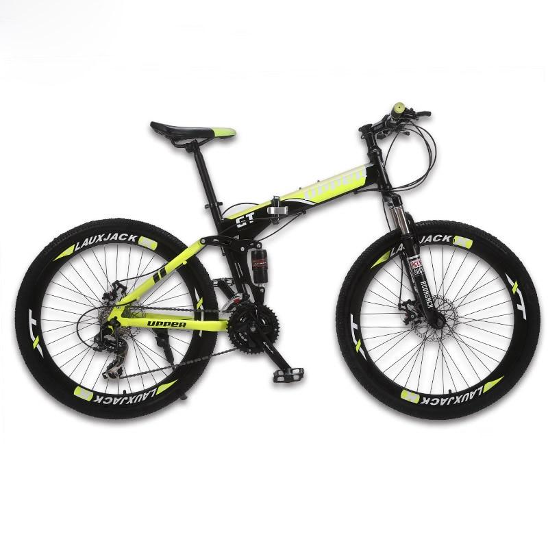 GT-UPPER Mountain Bike Full Suspension System Steel Folding Frame 24 Speed Shimano Disc Brakes