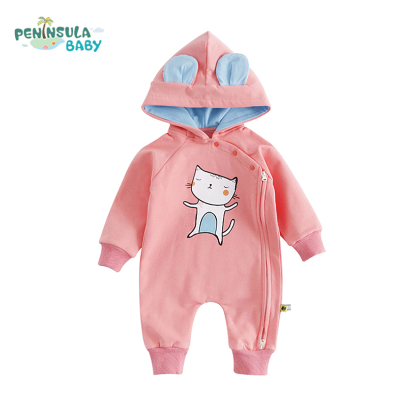 2017 Newborn Baby Rompers Cartoon Cat Fox Jumpsuit Girl Autumn Winter Warm Clothing Long Sleeves Hooded Baby Boy Toddler Costume warm thicken baby rompers long sleeve organic cotton autumn