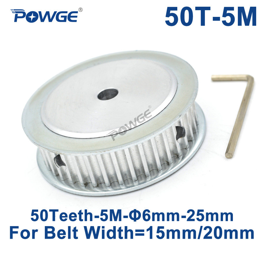 цены POWGE 50 Teeth HTD 5M Synchronous Timing Pulley Bore 6/8/10/12/14/15/16/19/25mm for Width 15/20mm HTD5M Gear wheel 50Teeth 50T