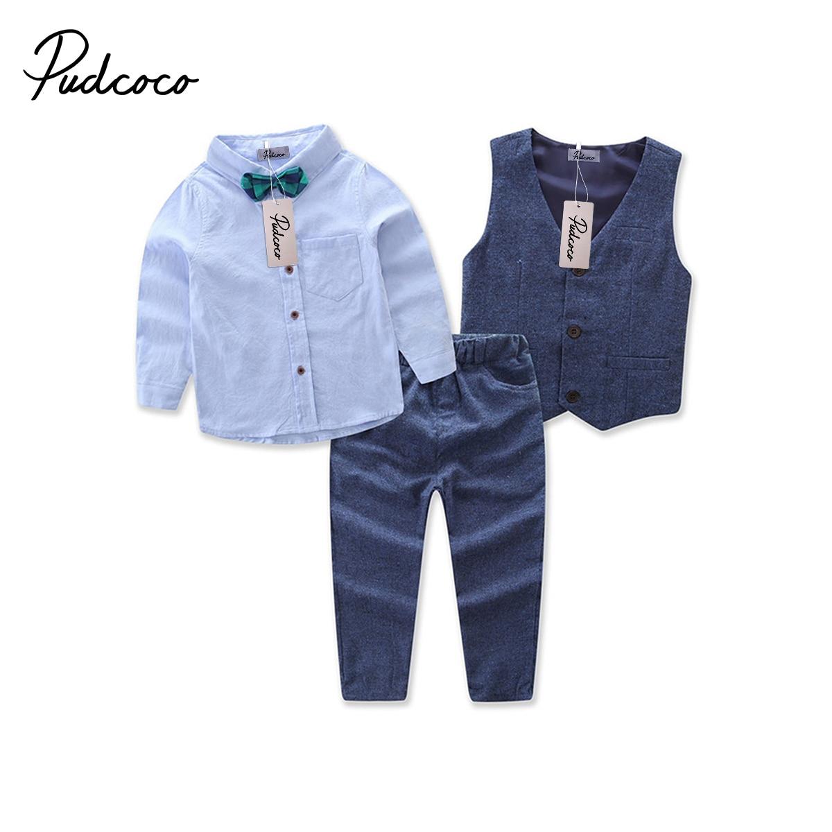 100% Wahr Gentleman Jungen 3 Stücke Mode Kleidung Set Fliege Weste Blau Shirts Lange Hosen Anzug Outfits Herbst Frühling 2-7y Guter Geschmack