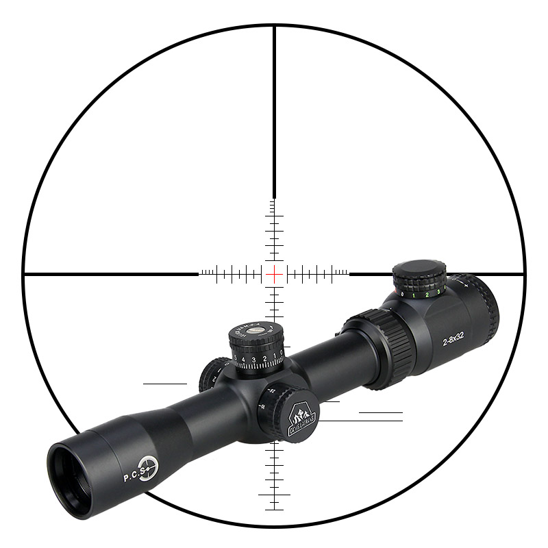 Canis Latrans Riflescope MT 2-8x32 Rifle Scope Red Green Illuminated 30mm Tube Diameter For Outdoor Shooting PP1-0288