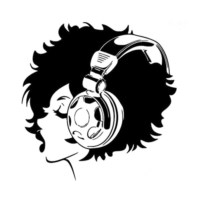 136Cm139Cm Fashion Girl Music Headphones Sexy Lips Silhouette Decal Vinyl Car -5295