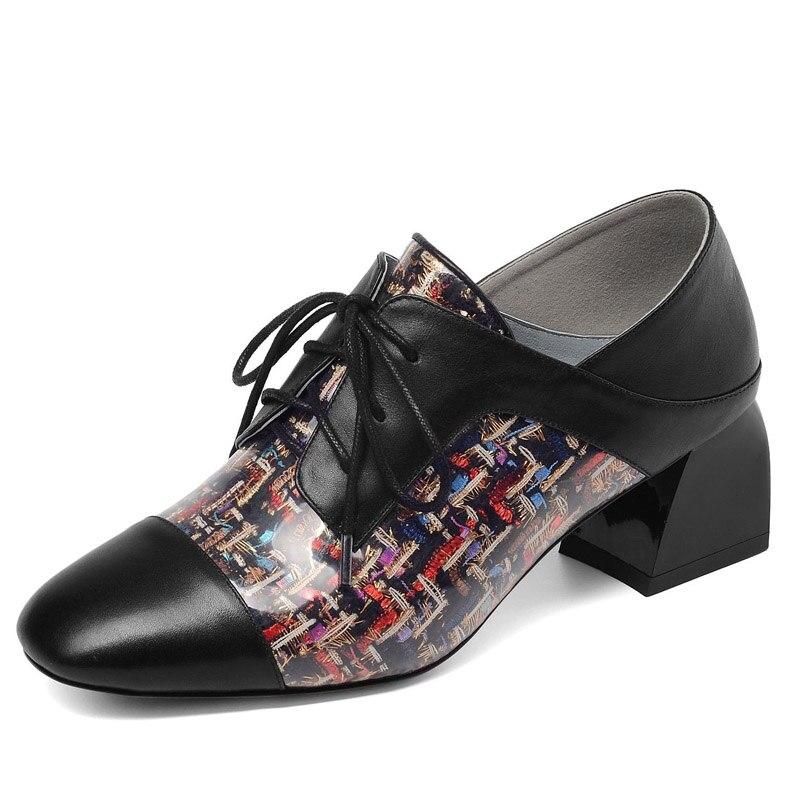 Encaje Marca Cuadrada Con Boca Casual Damas Gruesa Mujeres Color Novela Cuero Black Zapatos Profunda Las Cabeza De Individuales w0x1Yqn56