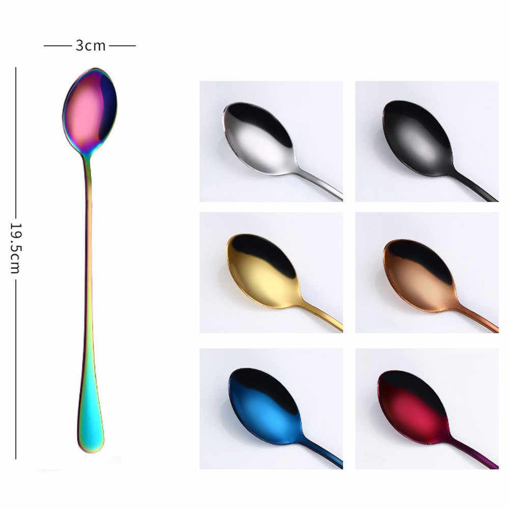 1Pcs Stainless Steel Spoon Colorful Long Handle Ice Spoon Coffee Spoon Drinking Tools Gadget Tea Home Kitchen Tableware Spoons