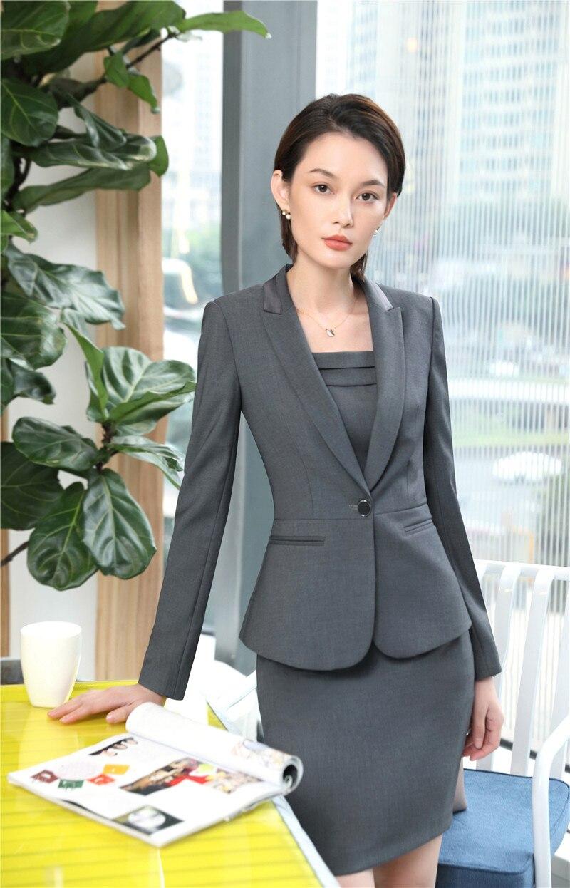 a0fca92d78398 Hohe Frauen Stoff Qualität Arbeit Elegante Mode Anzüge Schlank Business  Damen Mit Tragen Und Blazer Jacken Sets Grau Kleid Grey BCrdxeQoW