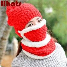 Плюс бархатная теплая маска шарф шляпа набор уличная ветрозащитная шапочка для верховой езды с Защита лица и шеи женская вязаная шапка