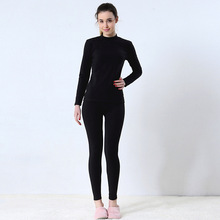1452f1c83 المرأة ملابس اخلية حرارية ضئيلة شكل طويل جونز الأوسط هايت الرقبة الملابس  الداخلية قمصان + السراويل الجوارب طويلة مجموعة الإناث ا.