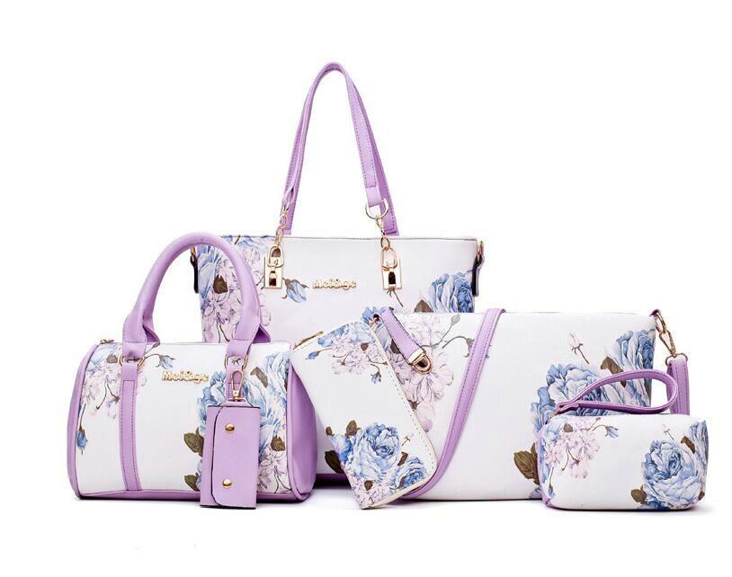 New Arrivals 6pcs/Set Fashion Women Handbags Prints PU Leather Composite Bag Clutch Set Large Shoulder Bag Purse Female