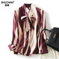Shuchan Office Lady Print Natural Silk Womens Tops And Blouses Bow Tie New Arrivals 2019 Blusas Femininas Ladies Tops R7008