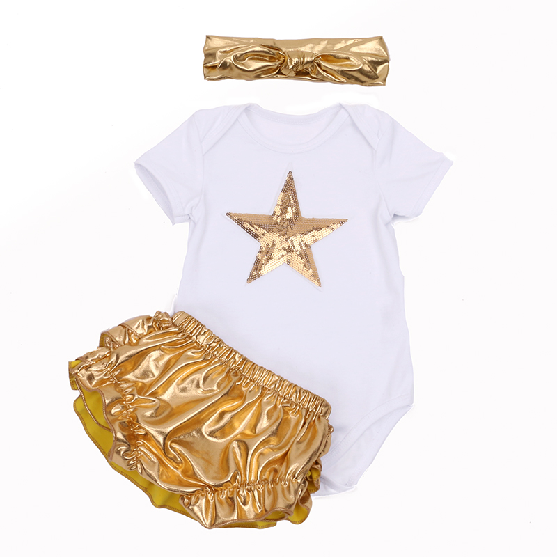 European New Kids Girls Sets White Sea Star Bodysuit + Golden Bloomer Ruffle Pants Headbands Outfits Newborn Baby Girl Clothes