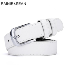 RAINIE SEAN White Belt Women Pin Buckle Leather Ladies Korean Fashion Female Belts For Jeans