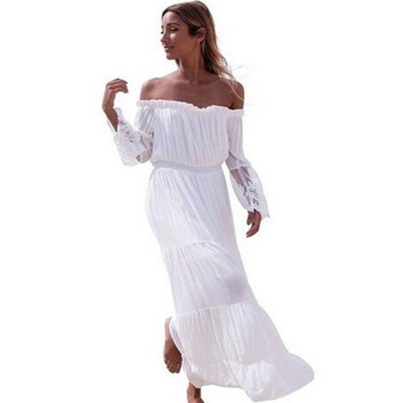 75cf0369832478 2017 zomer jurken grote maat chiffon bohemian beach dress dames wit  elegante kant vestidos lange dress xs0032 in 2017 zomer jurken grote maat  chiffon ...