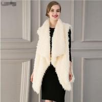 2017 new fashion fur solid vest imitation wool lapel artificial fur fashion temperament fur vest