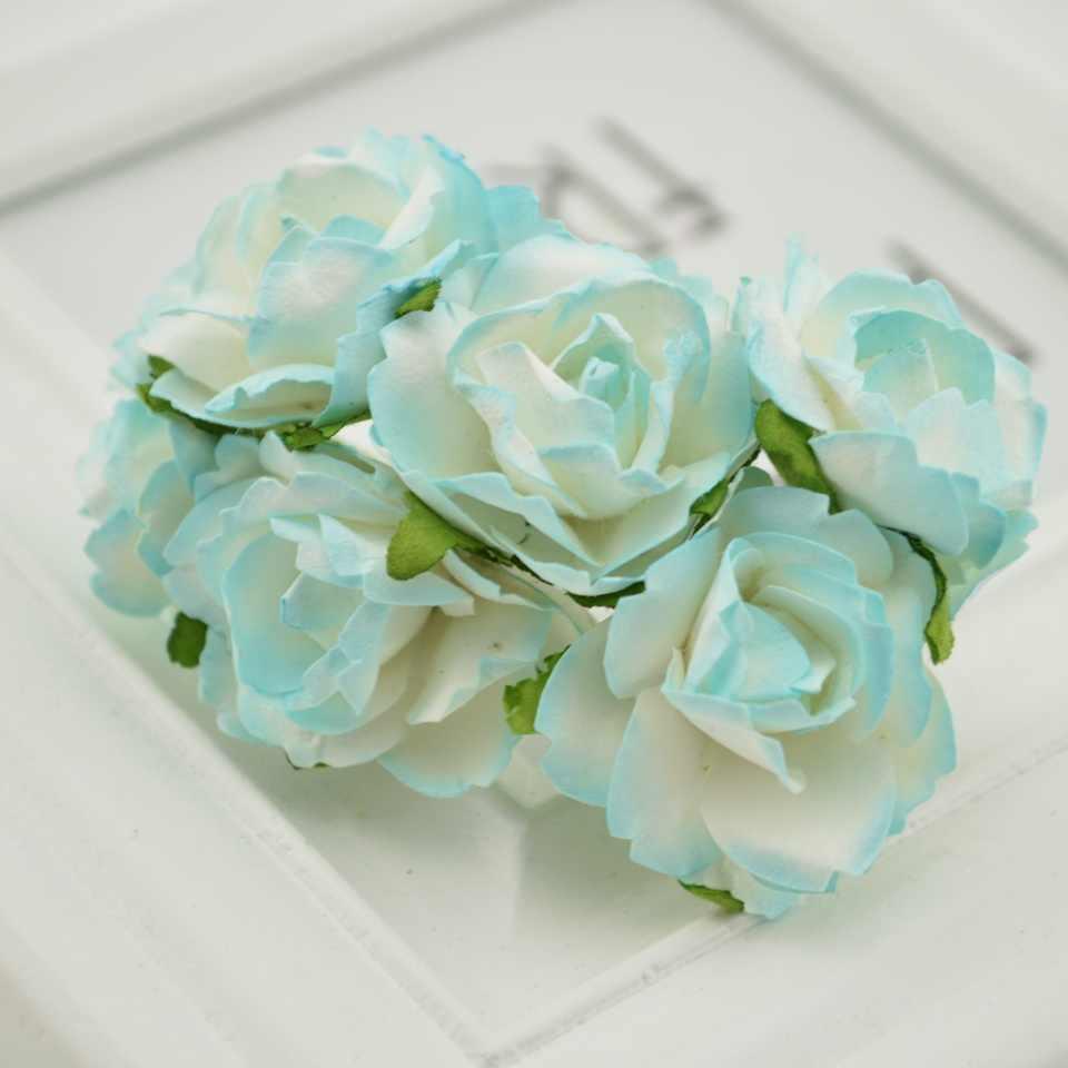 6 Pcs dengan Harga Murah Kertas Buatan Mawar Bunga Scrapbooking untuk Pernikahan Mobil Dekorasi Kerajinan Diy Hadiah Kotak Karangan Bunga Bahan Palsu