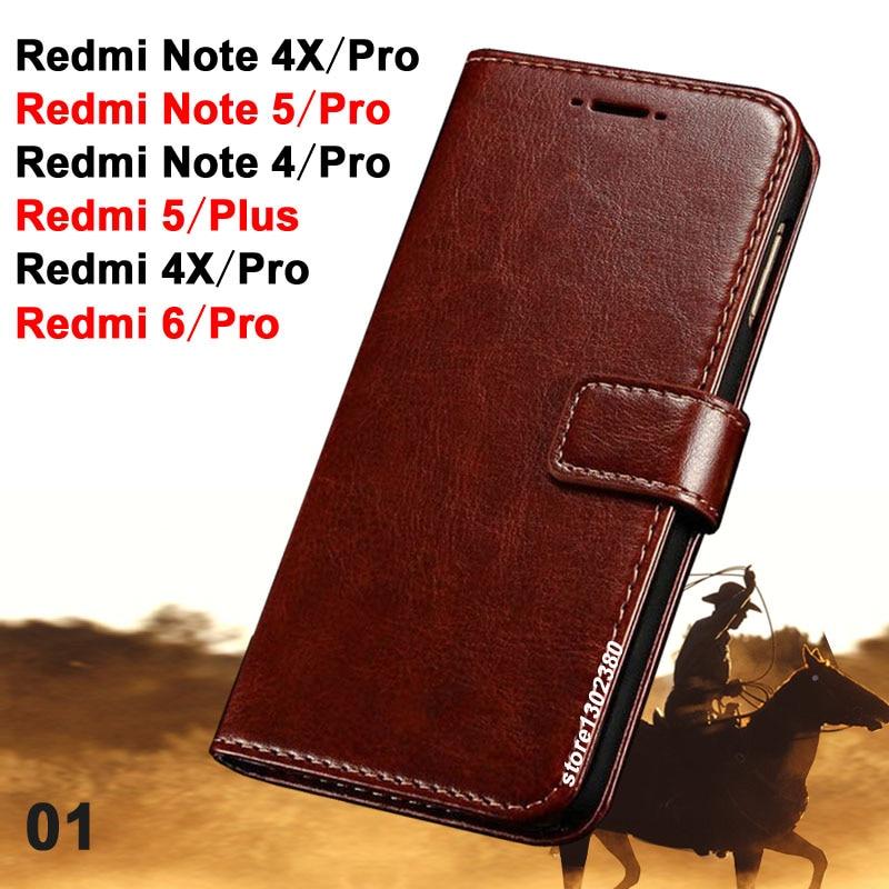 Xiaomi Redmi Note 5 Pro qabılı dəri Xiaomi Redmi 5 Plus çantası üçün dəli at örtüyü