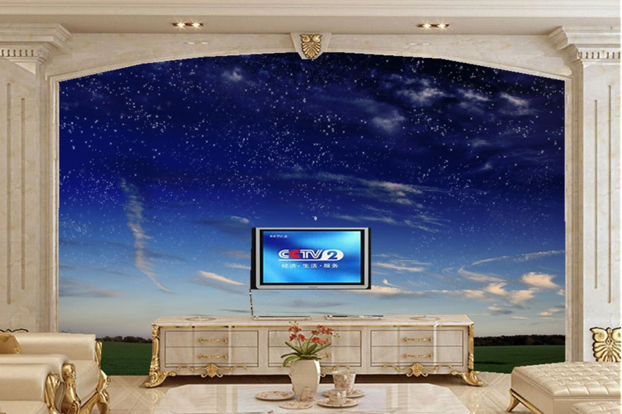 Large murals, papel de parede Sky Stars Clouds Nature wallpapers,bar living room tv sofa wall bedroom wallpaper for walls 3 d custom ceiling wallpaper blue sky and white clouds landscape murals for the living room bedroom ceiling wall papel de parede