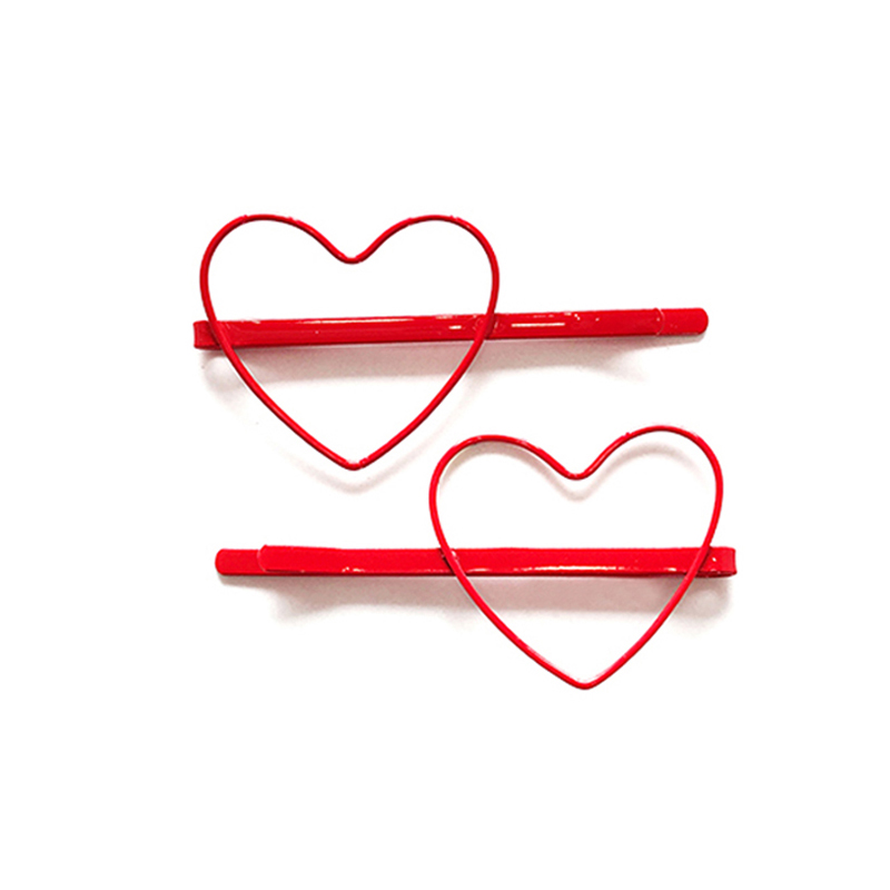 Loeel 2Pcs/Lot Fashion Female Solid Color Heart Shape Hair Clip Barrette Hair Accessories Women Plated Colorful Hairpin   Headwear