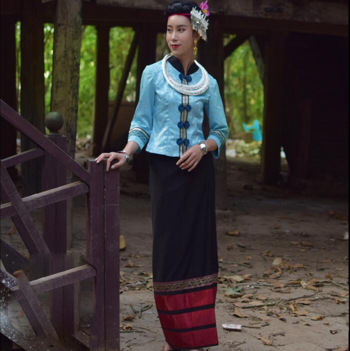 Zomer YunNan Dehong Gebied Kleding Dai traditionele retro Slim blauw vrouwen pakken Jas + Rok sprinkler water festival Jurk - 3