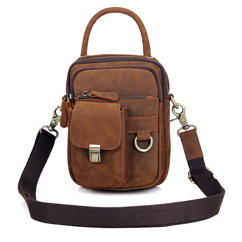 Retro Crazy Horse Genuine Leather Men Messenger Bag Casual Crossbody Small Bag Business Mens Handbag Shoulder Bags Brown #L1003
