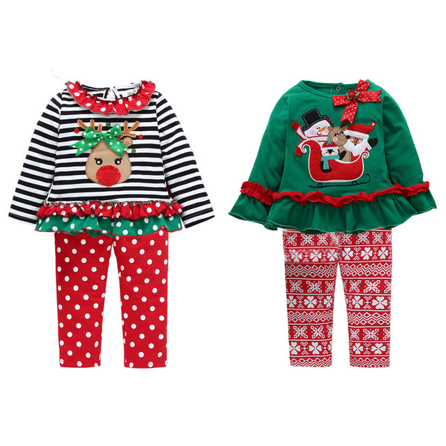 5a081b64c8d50 Christmas Children's Clothing Girls Print Long-sleeved Striped Elk Home  ServiceT-shirt + Pants Mesh Skirt Two-piece