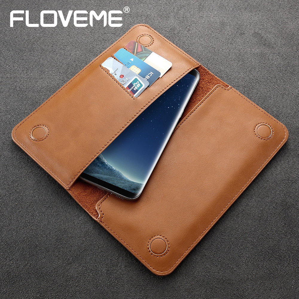 FLOVEME Universal 5.5 inch Phone Pouch For Samsung Galaxy S6 S7 Edge Cover Retro Leather Bag Case For Mobile Phone Flip Wallet
