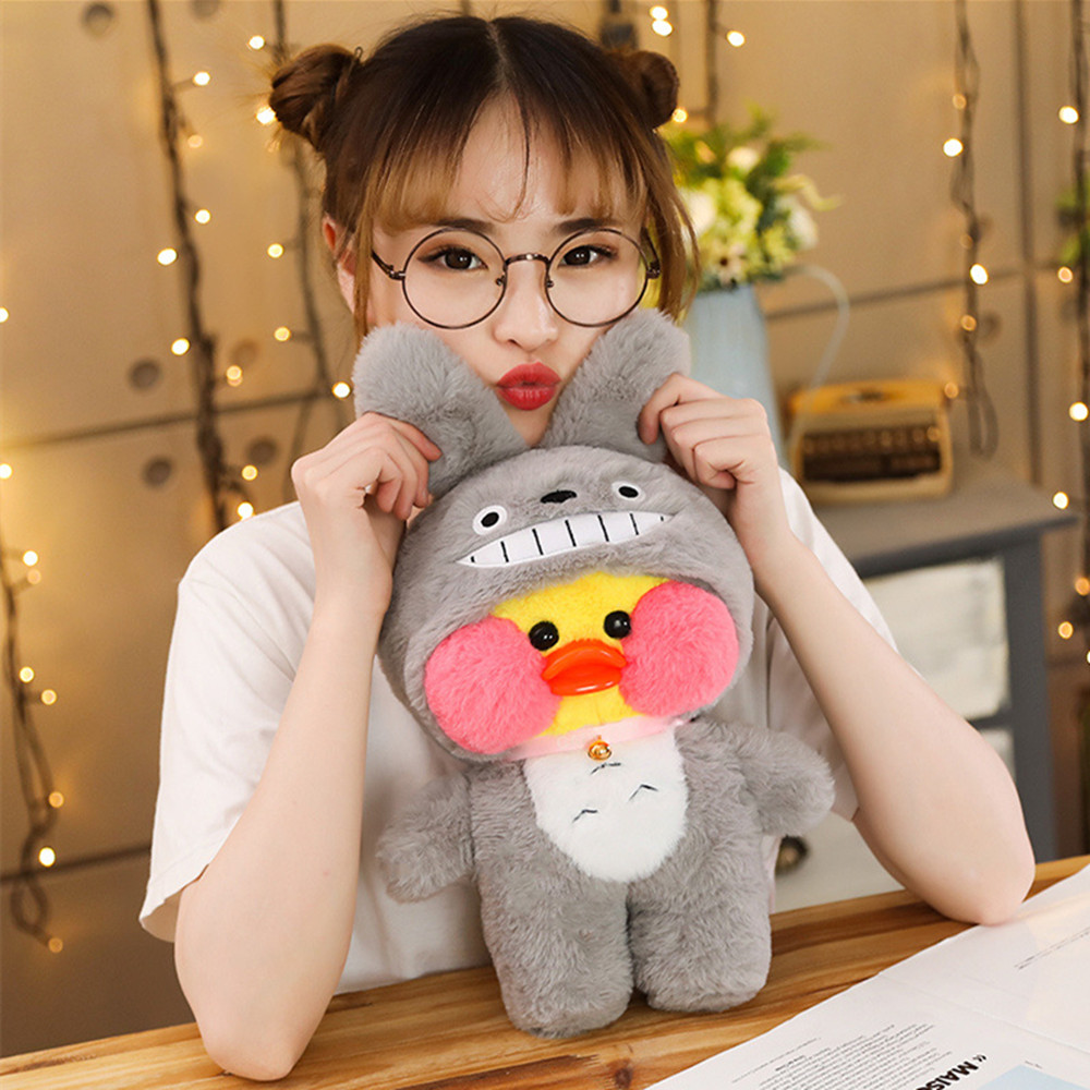 30cm Kawaii LaLafanfan Cafe Duck Plush Toy Cartoon Duck Stuffed Doll With Animal Clothes Kids Toys Birthday Gift For Children