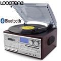 LoopTone 3 скорости Bluetooth виниловый проигрыватель винтажный проигрыватель CD и кассетный плеер AM/FM радио USB рекордер Aux-in RCA линейный выход