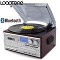 LoopTone 3 скорости Bluetooth виниловый проигрыватель винтажный проигрыватель CD и кассетный плеер AM/FM радио USB рекордер Aux-in линия RCA-out