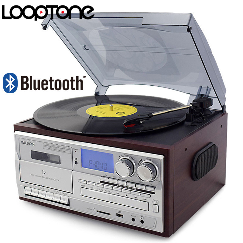 LoopTone 3 Velocità Bluetooth Giradischi In Vinile Vintage Giradischi CD e Lettore di Cassette AM/FM Radio Registratore USB Aux -in RCA Line-out