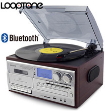 LoopTone 3 hız Bluetooth Turntable vinil LP plak çalar Vintage gramofon fono CD ve kaset FM/AM radyo USB kaydedici