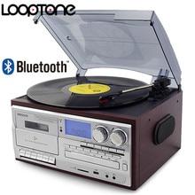 Looptone 3 velocidade bluetooth turntable vinil lp record player gramofone vintage cd & cassette fm/am gravador de rádio usb