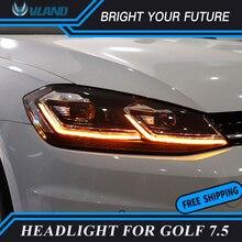 Автомобиль лампа для Volkswagen VW Golf 7 MK7 Гольф 7,5 MK7.5 светодиодный фар двойной U Стиль ксеноновых фар