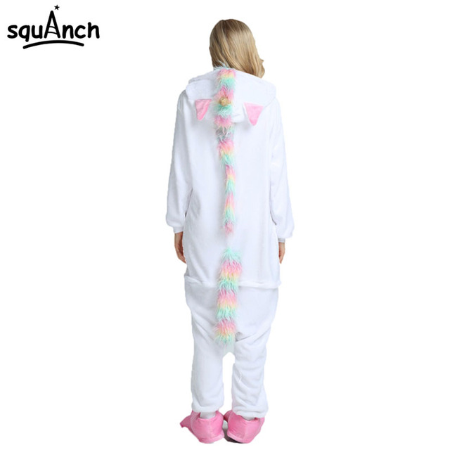 Unicorn Kigurumi Onesie Golden Horn Pajama Men Women Adult Rainbow Girls Party Costume Winter Overall Flannel Soft Jumpsuit New