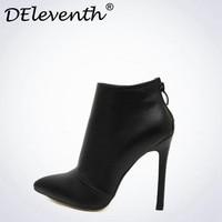 Belle סגנון נדבק מוצק צבע שחור נשים נעלי חתונה אדומה קרסול אישה נעלי מגפי עקב גבוה הבוהן מחודדת חזרה רוכסן מגפי