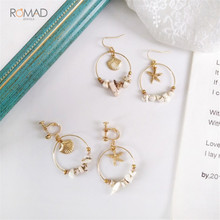 Romad Vintage Sea Shell Starfish Gold Alloy Dangle Earrings For Women Stone Beads Round Circle Korean Jewelry Gift
