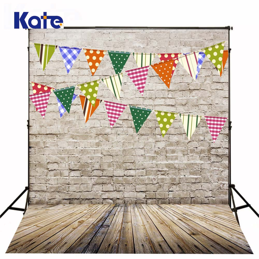 Kate Digital Printing Photography Backdrops Brick Wall Wood Floor Background Colorful Flags For Children Backdrop сумка kate spade new york wkru2816 kate spade hanna