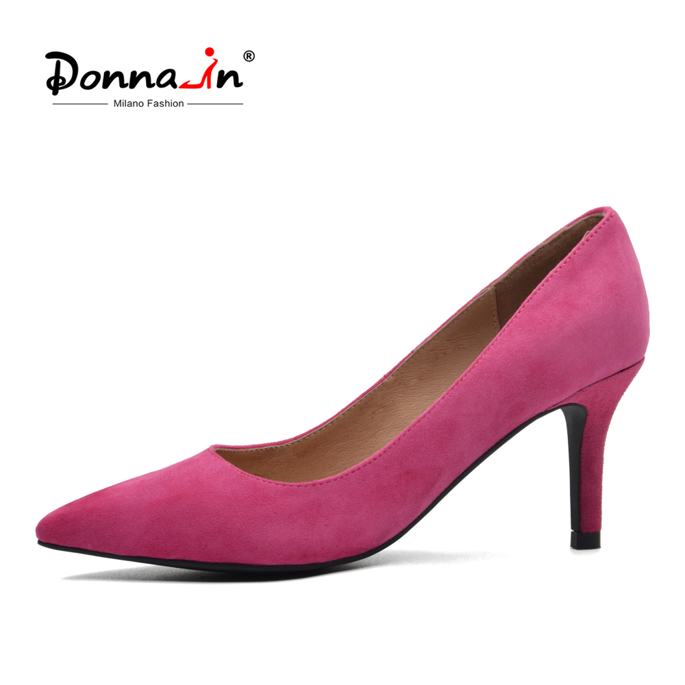 Donna-in Genuine Leather Women Shoes 2018 Spring Pointed Toe Pumps Thin High Heel Pumps Kid Suede 7.5 cm Heel Party Ladies Shoes meotina genuine leather women shoes female plaid party shoes block heel bow strap high heels kid suede ladies pumps 2018 spring