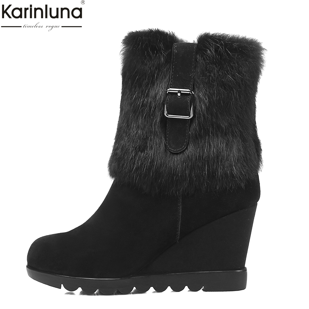 Karinluna brand new dropship cow suede leather wedge high heels snow Boots Women Shoes winter warm real fur Woman mid calf Boots