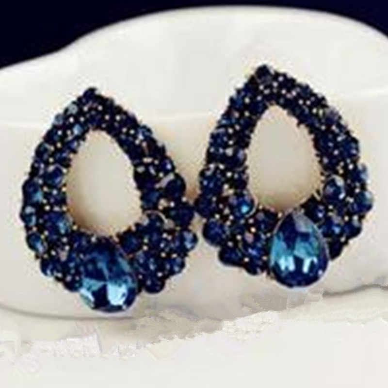 Exquisite fashion new high-end temperament blue crystal big earrings jewelry Brincos gold earrings girl best gift