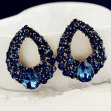 2017 new high-end temperament fashion blue big earrings jewelry Brincos gold earrings girl the best gift