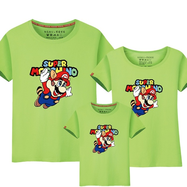 88b7f5d104a9f 95% Cotton 5% Silk Mario Shirt Kids Summer Family Matching Outfits Couples  Clothes Mother Daughter Dad Son Short sleeved T-shirt