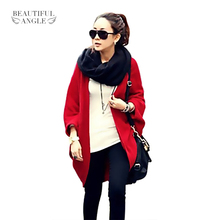 2017 New Fashion Women Casual Korea Loose Shawl Batwing Sleeves Lady Knit Sweater Coat Woolen Women Cardigans Jacket