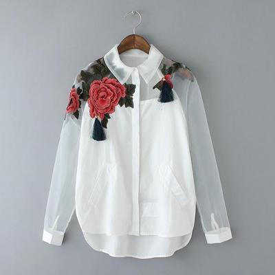 Plus Blusa Bordado Hollow Camisa Size Negro Larga Organza Tops blanco Mujeres Blanco De Ropa Flor Malla Out Manga qxpP66FXtw