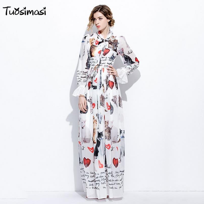 2017 Fashion Women's silk bow neck lantern Sleeve animal Vintage white pink dog Printed Long maxi Dress( CH034)
