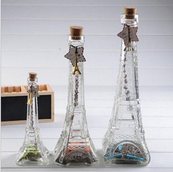 unid torre eiffel botella de vidrio botellas de deriva deseando botella de cristal de estrellas