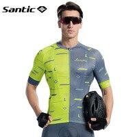 Santic Short Sleeves Cycling Jersey Men Summer Mountain Bike MTB Short Jersey Shirt Downhill Motocross Jersey Bicycle Clothings