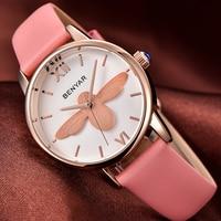 BENYAR Fashion Casual Bee Quartz Watch Women Leather Strap Montre Femme Luxury Women Watches Waterproof Relojes